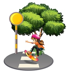 A female skateboarder at the street vector image