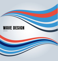 Abstract blue and red color smooth waves design vector