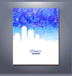 Abstract urban scene with snow sky vector