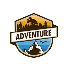adventure outdoor unique shield badge design vector image