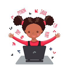 African american happy girl learning coding vector