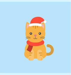 animal wearing santa hat in flat design vector image