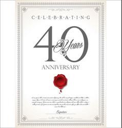 Anniversary retro vintage design 40 years vector