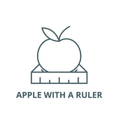 apple with a ruler line icon apple with a vector image