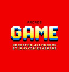 Arcade game style font design retro 80s video vector
