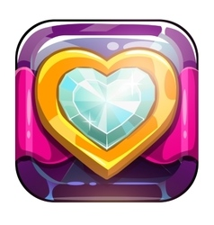 Beautiful app icon with golden heart vector image