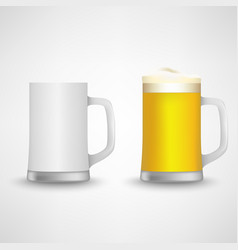 Beer glass empty and full design template vector
