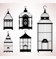 bird cage birdcage vintage retro silhouette a set vector image