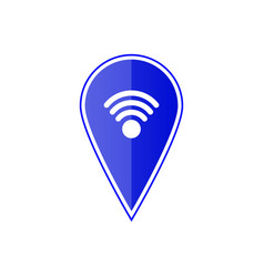 blue map pointer with wi fi symbol vector image
