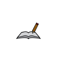 book pen writing in papers on open logo vector image