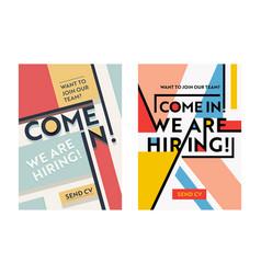 Business recruiting banner design set hiring vector