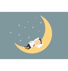 cartoon businessman sleeping on moon vector image