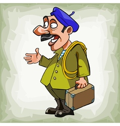 cartoon man plumber in a beret with a suitcase vector image