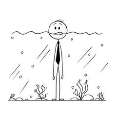 Cartoon of businessman standing in water with vector