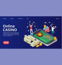 casino landing page isometric online casino vector image