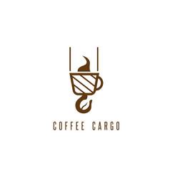 Coffee cargo negative space concept with bean vector
