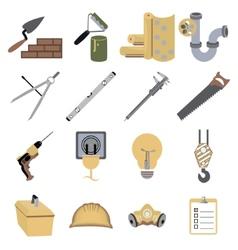 Construction repair tools icons symbols vector