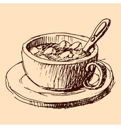 Cup of cacao hand drawn sketch vector