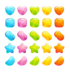 Cute glossy jelly candies set vector