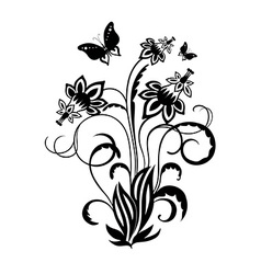 Decorative composition of curls flowers and vector image