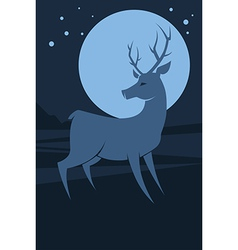 Deer at night vector