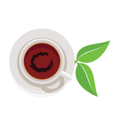 design of cup of tea and green leaves vector image