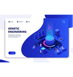 Dna isometric concept genetic engineering lab vector