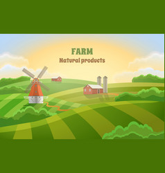 Farm green fields rural landscape with a mill vector