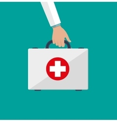 First aid kit in the doctors hands vector