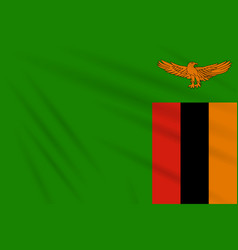 Flag zambia swaying in wind realistic vector