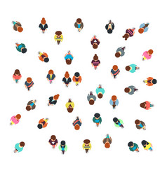Gathering people group top view walking men and vector