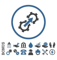 Gear Integration Flat Rounded Icon with vector