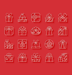 Gift simple paper cut icons set vector