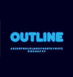 Glowing layered blue font style design templates vector