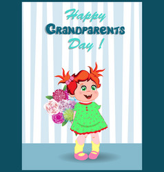 grandparents day greeting card with cute little vector image
