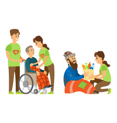 Handicapped and vagrant social caring vector
