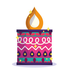 happy diwali festival colored candle flame vector image
