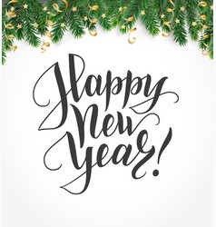 happy new year hand written lettering winter vector image