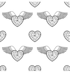 Heart and wings outline coloring pattern vector