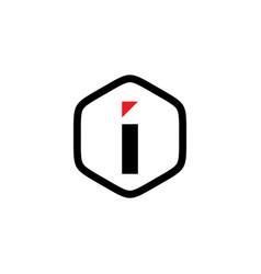 initial i hexagon logo template vector image