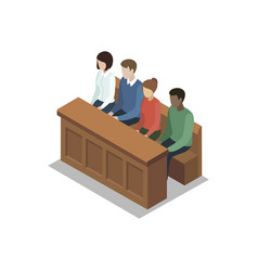 Jury trial isometric 3d element vector
