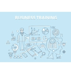Line style design concept of business training and vector image
