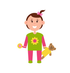 Little girl in pajamas with rattle and teddy bear vector