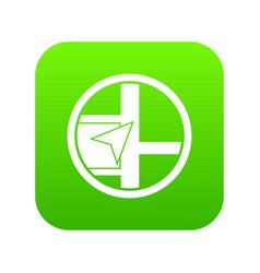 map navigation icon digital green vector image