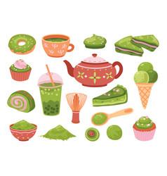 matcha tea healthy dessert isolated tasty iced vector image