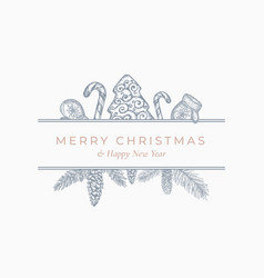 Merry christmas greeting card or label square vector