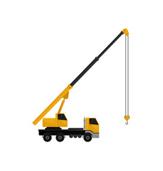 Mobile hydraulic crane truck cargo transportation vector