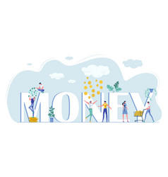 Money capital letters and happy rich tiny people vector