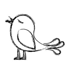Monochrome sketch of bird with worm in the peak vector