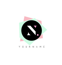 n geometric shapes logo design with pastel colors vector image